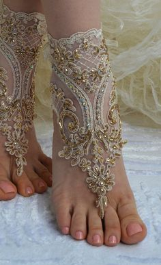 Champagne french lace sandals wedding anklet Beach by newgloves, $39.00