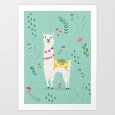 Buy Festive Llama Art Print by latheandquill. Worldwide shipping available at Society6.com. Just one of millions of high quality products available.