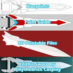 Voltron Inspired Prop Keith Sword and Bayard for Cosplay - STL Files for Printing sold by Billythebrick Cosplay. Shop more products from Billythebrick Cosplay on Storenvy, the home of independent small businesses all over the world. Voltron Ships, Voltron Klance, Dremel 3d Printer, Voltron Cosplay, Voltron Costume, Cosplay Costumes, Cosplay Ideas, Foam Costumes, Cosplay Diy