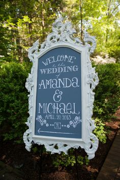 Simple, vintage wedding entry sign. Wedding by Southern Event Planners by Memphis, TN