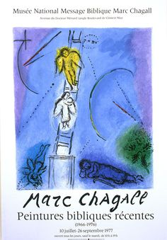 """- Artist: Marc Chagall (French/Russian, 1887-1985) - Year: 1977 - Dimensions: 20.5 x 29.75"""" Exhibition poster from the July-September 1977 exhibition of Chagall's work at the Musee National Message Bi"""