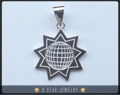 925 Sterling Silver 9 Star Baha'i Pendant by 9StarJewelry #bahaijewelry #bahai #bahais #9starjewelry