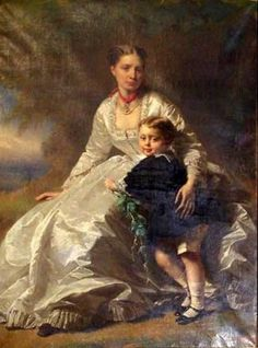 Lady With Her Young Son By Artist Richard Lauchert (1823 – 1869, German).