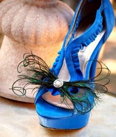 Shoe Clips Peacock Feather Bow.