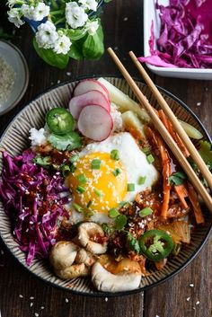 This easy korean rice bowl is so easy to whip together and the sweet chile soy sauce is the perfect combination! Perfect for meatless mondays too!