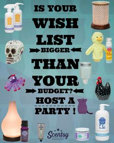 Is your Scentsy wish list bigger than your budget? Host a party and check off your list with free and half-priced Scentsy from hostess rewards