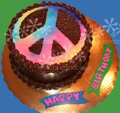 This peace sign chocolate cake has Twix cookie filling. The peace sign is airbrushed. Round Birthday Cakes, Cupcake Birthday Cake, Round Cakes, Cupcake Cakes, Cupcakes, Peace Sign Cakes, Hippie Party, Twix Cookies, Just Cakes