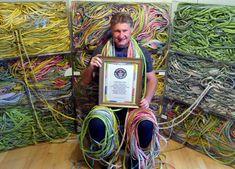 Gary Duschl of Virginia Beach, Virginia, current record holder of the world's longest gum wrapper chain.