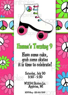 rollerskate invitation | Roller Skating Party Invitation - PRINTABLE - Peace Skate Collection