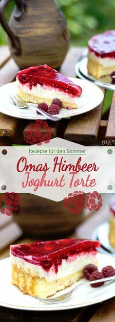 Rezept für Omas Himbeer Joghurt Torte /// Raspberry Yoghurt Cake from Granny Recipe for Grandma's Raspberry Yogurt Cake /// Raspberry Yoghurt Cake from Granny Raspberry Yoghurt Cake, Yogurt Cake, Raspberry Torte, Chocolate Cake Recipe Easy, Vegan Chocolate, Easy Cake Recipes, Snack Recipes, Smoothie Recipes, Easy Homemade Ice Cream