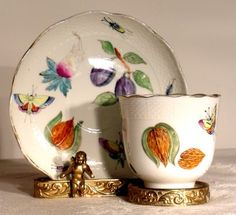 Antique Herend Hungary Porcelain Tea Cup and Saucer.................d