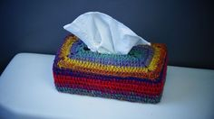 Learn how to crochet a tissue box cover using Bernat Mosaic Yarn. This adds pizzaz and a bit of flair to your home decor.