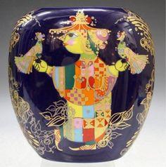 German Bjorn Wiinblad Rosenthal Porcelain Vase