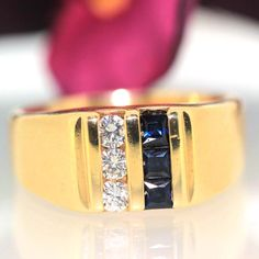 14k Yellow gold Natural Blue Sapphire & Round VS-1 Diamond Men's Heavy ring band by crystalanchor on Etsy