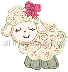 Easter Applique Design - Swirly Lamb Applique Design - 4 Sizes - Machine Embroidery Designs - INSTANT DOWNLOAD by allthingsapplique