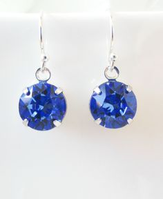 Sapphire Earrings, Sapphire Birthstone Earrings,Sterling Silver, Bridesmaid Earrings, Swarovski Crystal Earrings,Sapphire Jewelry,September by Uniquebeadables on Etsy