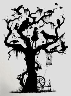 Here's my entry for the 'silhouette' contest held by It was created using felt tips and fine-liners. Originally inspired by Vania Zouravliov's silhouette work (a stunning artist I would highly reco. Tattoo Trees, Fairytale Art, Fairytale Drawings, Art Et Illustration, Silhouette Art, Tree Silhouette Tattoo, Kirigami, Faeries, Paper Cutting