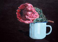 Looove protea CON: Protea, x Acrylic, Framed Protea Art, Watercolors, Still Life, Vases, Canvas, Frame, Artist, Flowers, Tela