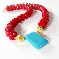 Red Necklace Turquoise Jewelry Gemstone by jewelrybycarmal on Etsy, $65.00