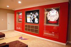 Home Bar Accessories Ideas Blush Pink Living Room, Living Room White, Man Cave Diy, Man Cave Home Bar, Hockey Man Cave, Playhouse Interior, Room Interior, Hockey Bedroom, Home Bar Accessories