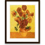 Art of Silk ~ Hand Designed Silk Art, Silk Embroidery - Vase of Fifteen Sunflowers $109.99