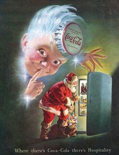 "1948 Santa & Sprite Boy Coca Cola Ad ""Coca Cola Hospitality"" Christmas Coke Ad Print Wall Art by on Etsy Coca Cola Poster, Coca Cola Ad, Always Coca Cola, Pepsi, Vintage Santas, Vintage Christmas, Coca Cola Santa Claus, Coke Santa, Sodas"