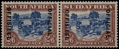 "£1,500 South Africa OFFICIALS: 1930-47 2s6d blue and brown pair showing variety ""DIAERESIS OVER SECOND 'E' OF OFFISIEEL ON AFRIKAANS STAMP ONLY"", SGO19b.  A very fine quality unmounted mint example of this rare printing variety. Afrikaans, Stamp Collecting, Postage Stamps, South Africa, Decorative Boxes, Printing, Mint, Brown, Blue"