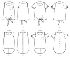 B 6057 TUNIC: Loose-fitting, pullover top and tunic have narrow hem. A and B: front extends into single layer tie ends. A and D: pocket with mock band. B and D: bias sleeve bands. C and D: back pleat. Tie ends A, B and hemline C and D: wrong side shows. Tab B, D and back C and D: button trim.