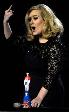 """Adele, British musician, After Acceptance Speech Gets Cut Off at 2012 Brit Awards. Adele is known for tracks like """"Rolling In the Deep,"""" & """"Someone Like You. Hollywood Actresses, Actors & Actresses, I Salute You, Lily Allen, Acceptance Speech, Celebration Quotes, Gal Gadot, Christina Hendricks, People"""