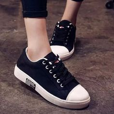 $12.90 Preppy Women's Athletic Shoes With Canvas and Tie Up Design