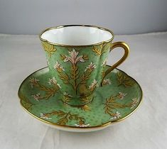 Antique Hand Painted French Quatrefoil Demitasse Cup & Saucer Set - Green w/Gold