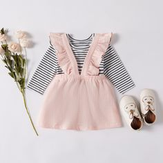 Baby Girl Stripe Romper and Solid Ruffled Design Strappy Skirt Set matchingfamilyoutfits Winter Baby Clothes, Autumn Clothes, Baby Winter, Summer Clothes, Henna Designs, Striped Bodysuit, Baby Bodysuit, Baby Jumpsuit, Suspender Dress