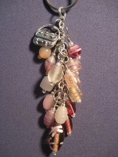 Pink Glass Bead Purse Charm / Key Chain by FoxyFundanglesByCori, $10.00
