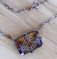 Wire wrapped stone necklace. Craft ideas from LC.Pandahall.com | Necklace 2 | Pinterest by Jersica