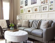 Grey Leather Sofa | www.decorchick.com. Note to self...I like the board behind the sofa, but not the arrangement of pictures...too much!