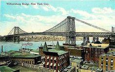 New York City NY 1913 Williamsburg Bridge East River Antique Vintage Postcard