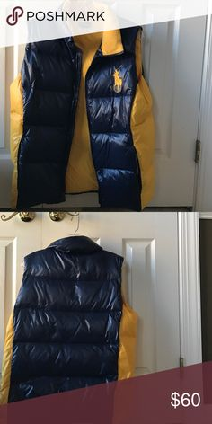 Polo by Ralph Lauren Big Pony Vest Polo by Ralph Lauren big Pony yellow and Navy blue vest.  This is not reversible.  Gently used, no rips, tears or stains.  Pet and smoke free home Polo by Ralph Lauren Jackets & Coats Vests