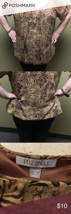 Plus size Roz & Ali blouse Plus size Roz & Ali from Dress Barn animal print blouse in 3x. 100% polyester. Has banded bottom. Machine washable. Good condition. No tears or holes. There are 2 lines at the bottom that look like small pulls that is not noticeable but pictured for your benefit. Dress Barn Tops Blouses