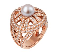 @Cartier Paris Nouvelle Vague 'Voluptuous' ring in pink gold and diamonds, set with a freshwater pearl (£30,600).