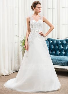 A-Line/Princess V-neck Chapel Train Satin Tulle Wedding Dress With Beading Appliques Lace Sequins Bow(s) (002056465)
