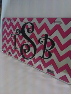 Beautiful #chevron and #monogrammed mirror license plate we shipped off to a web customer. We offer a wide variety of original yet #custom car tags on our mobile friendly site