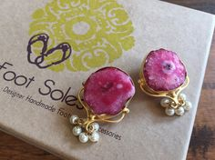 Natural Agate Statement Earring Pearl Earrings Pink by FootSoles