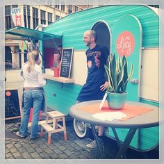 Vintage caravan becomes a charming food truck :)                                                                                                                                                                                 More