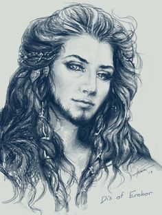 Art sketch of Dís. I accept this, because you know she had to be stunning to be related to Thorin, and to bear Fili and Kili.