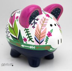 Boho Chic Feathers and Arrows Personalized Piggy Bank in Fuschia, Teal, Green Gold and Navy Boho Chic, The Little Couple, Pig Bank, Personalized Piggy Bank, Porcelain Ceramics, Navy And Green, Money Box, Baby Shower Gifts, Just For You