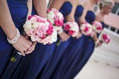 Bridesmaids bouquets Best Friend Wedding, My Best Friend, Bridesmaid Bouquets, Bridesmaids, Navy Blue Dresses, Wedding Flowers, Wedding Ideas, Table Decorations, Friends