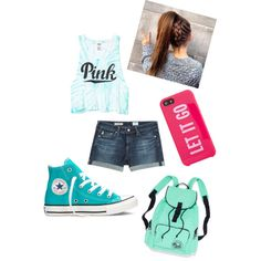 Designer Clothes, Shoes & Bags for Women Summer Fashion For Teens, Teen Fashion, Adriano Goldschmied, Victoria's Secret Pink, Polyvore Fashion, Kate Spade, Converse, Shoe Bag, Sneakers