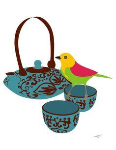 "Tea print - "" High Tea"" -  oriental tea pot, cup, illustration, 8x10, kitchen art. $20.00, via Etsy."