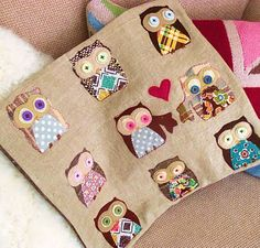 Applique Owl Applique, Applique Patterns, Applique Designs, Embroidery Applique, Embroidery Ideas, Fabric Crafts, Sewing Crafts, Sewing Projects, Scrap Fabric