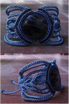 Spiderwebb Obsidian - Macrame bracelet (blues) - stone size approx. 3.0/3.0cm